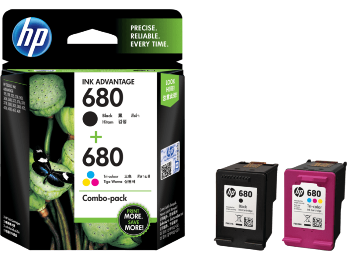 HP 680 Color/Black Ink Crtg Combo 2-Pk